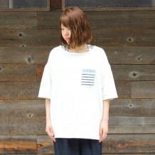 【inthegroove,】綿ニットポケジャガードボートTシャツ