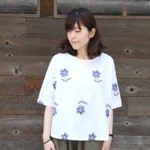 【inthegroove,花配色刺繍5分袖プルオーバー