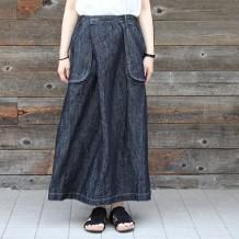 【inthegroove,】綿麻デニムラップベイカースカート