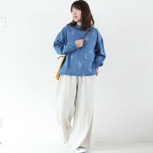 【inthegroove,】デニムボタニカル刺繍プルオーバー