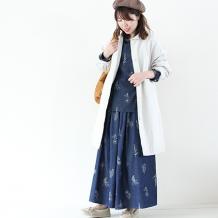【inthegroove,】デニムボタニカル刺繍スカート