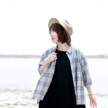【inthegroove,】マドラスチェックギャザーシャツ7分袖